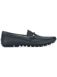 Baldinini Perforated Decoration Loafers Men Calf Leather Leather Rubber 42.5 Blue