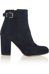 J.Crew Barrett Buckled Suede Ankle Boots Blue