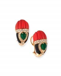 G. Verdi And C. Carved Coral Onyx Emerald Earrings With Diamonds
