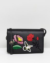 Liquorish Floral Embroidered Across Body Bag Black