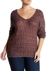 14Th And Union Double V Neck Sweater Plus Size Purple