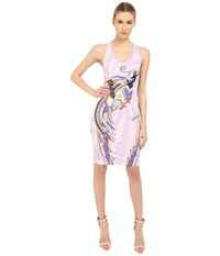 Just Cavalli Fitted Printed Jersey Tank Dress Leo Deco Print Lux Violet Women's Dress White