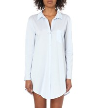 Hanro Patch Pocked Cotton Nightshirt Blue Glow