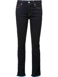 7 For All Mankind Frayed Hem Skinny Jeans Blue