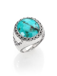 John Hardy Palu Turquoise And Sterling Silver Matrix Ring Silver Turquoise
