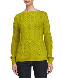 Halston Heritage Cable Knitted Long Sleeve Sweater Apple Green