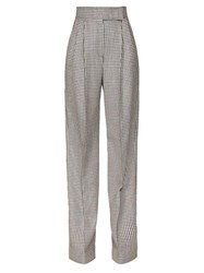 Alexander Mcqueen Houndstooth High Rise Wide Leg Trousers Black White