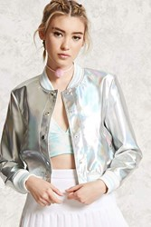 Forever 21 Iridescent Faux Leather Jacket Silver Pink