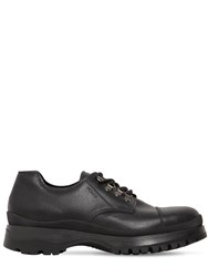 Prada 40Mm Brixxen Leather Lace Up Shoes Black