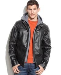 Guess Hooded Faux Leather Moto Jacket
