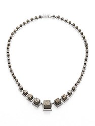 Eddie Borgo Pyrite Graduated Cube Necklace Grey