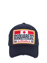 Dsquared Canadian Flag Patch Cotton Baseball Hat Blue