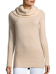 Cashmere Saks Fifth Avenue Oversized Turtleneck Pullover Creme Brulee