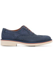 Canali Brogue Detail Oxford Shoes Blue