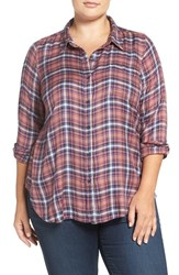 Lucky Brand Plus Size Women's 'Bungalow' Plaid Button Back Shirt Pink Multi