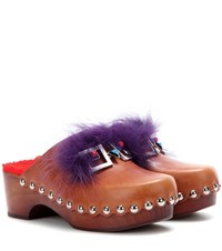 Fendi Embellished Leather Clogs Brown