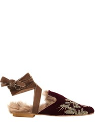 Gia Couture 10Mm Arabesque Velvet Lace Up Mules
