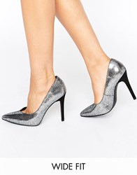New Look Wide Fit Metallic Pointed Heeled Shoe Metal Silver