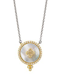 Freida Rothman Pave Crystal Clover Disc Pendant Necklace White