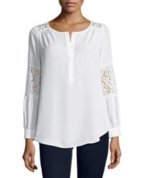 Neiman Marcus Lace Inset Peasant Tunic Ivory