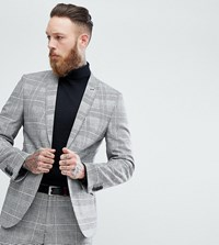 Heart And Dagger Slim Suit Jacket In Pow Check Grey