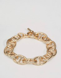 Asos Chain Interest Bracelet In Gold Gold
