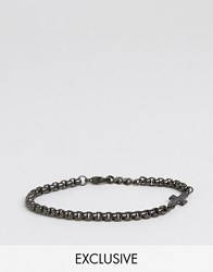 Seven London Cross Chain Bracelet In Black Exclusive To Asos Black
