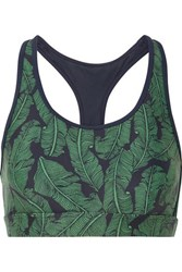 The Upside Anna Striped Printed Stretch Sports Bra Green