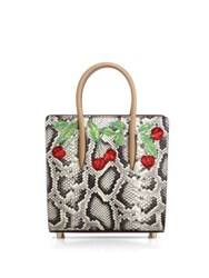 Christian Louboutin Paloma Small Cherry Embroidered Python And Metallic Leather Tote