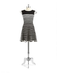Betsy And Adam Striped Mesh Fit Flare Dress Black Ivory