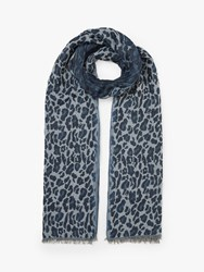John Lewis Collection Weekend By Leopard Print Cotton Scarf Denim Grey