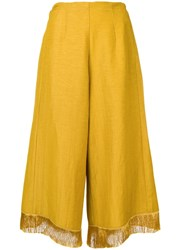 Forte Forte Fringe Hem Flared Trousers Yellow