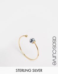 Asos Curve Gold Plated Sterling Silver Fine Open Bead Ring Gold