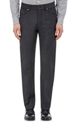 Ermenegildo Zegna Men's Wool Blend Flannel Trousers Dark Grey