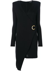Balmain Wrap Front Asymmetric Dress Wool Brass Black