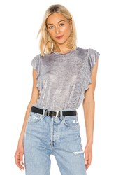 David Lerner Ruffle Sleeve Tank Gray