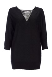 Wallis Black Bead Mesh V Neck Tunic