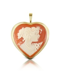 Del Gatto Woman Heart Cornelian Cameo Pendant Pin Brown