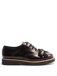 Miu Miu Bow Embellished Lace Up Leather Derby Shoes Black