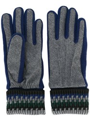 Carven Ribbed Cuff Gloves Blue