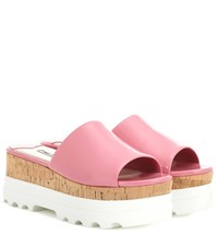 Miu Miu Patent Leather Platform Sandals Pink