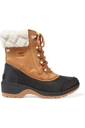 Sorel Whistler Rubber And Wool Trimmed Waterproof Nubuck Boots Tan