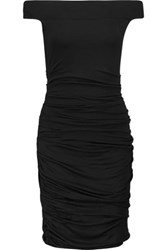Bailey 44 Off The Shoulder Ruched Stretch Jersey Dress Black