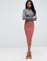 Asos High Waist Longerline Pencil Skirt Dusty Pink