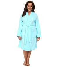 Lauren Ralph Lauren Plus Size Essentials Quilted Collar And Cuff Robe Garden Turquoise Women's Robe Blue