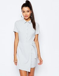 Missguided Short Sleeve D Ring Wrap Shirt Dress Grey