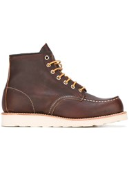 Red Wing Shoes Stitching Detail Lace Up Boots Brown