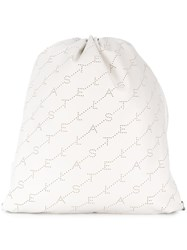 Stella Mccartney Logo Drawstring Backpack White
