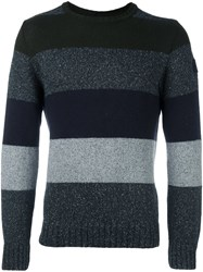 Paul And Shark Striped Crew Neck Jumper Grey