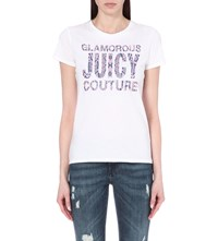 Juicy Couture Python Print Cotton Jersey T Shirt White